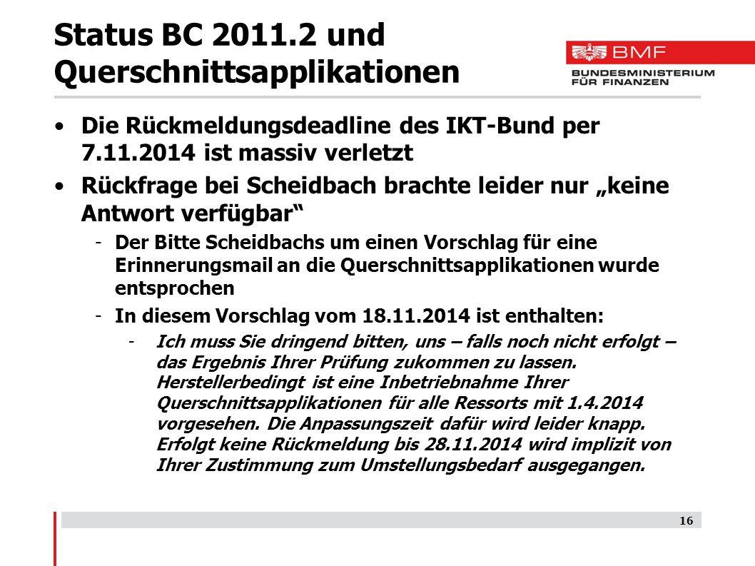 Status BC 2011.2 und Querschnittsapplikationen