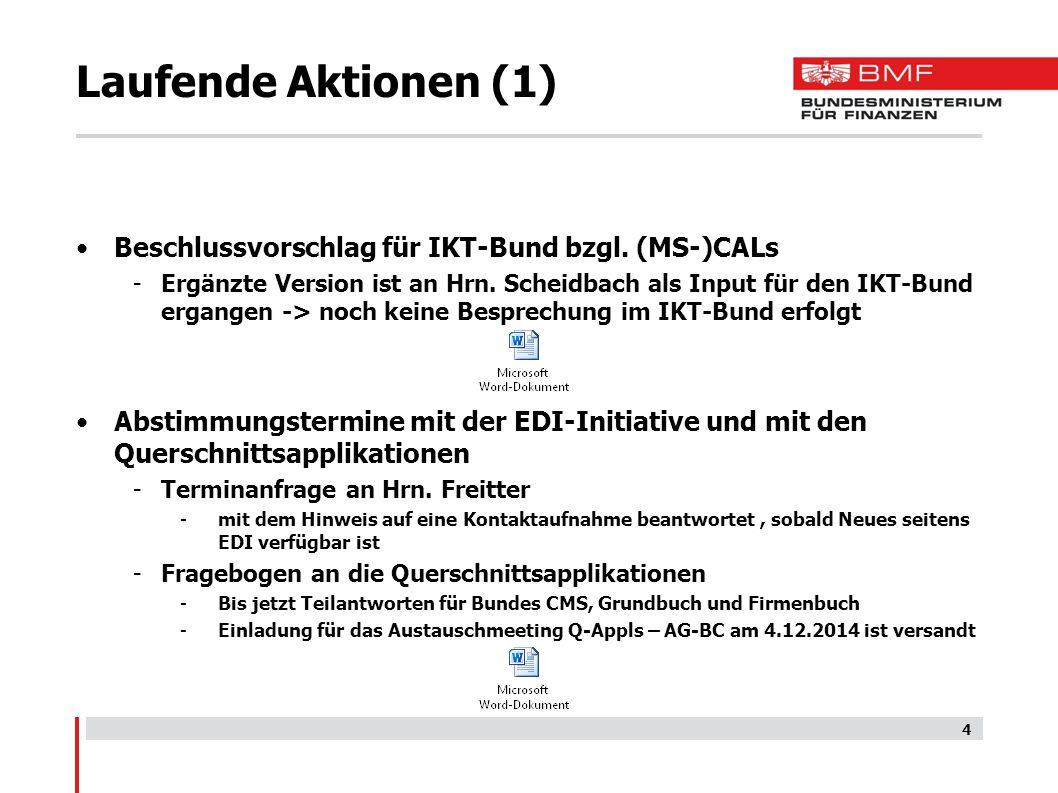 Laufende Aktionen (1) Beschlussvorschlag für IKT-Bund bzgl. (MS-)CALs