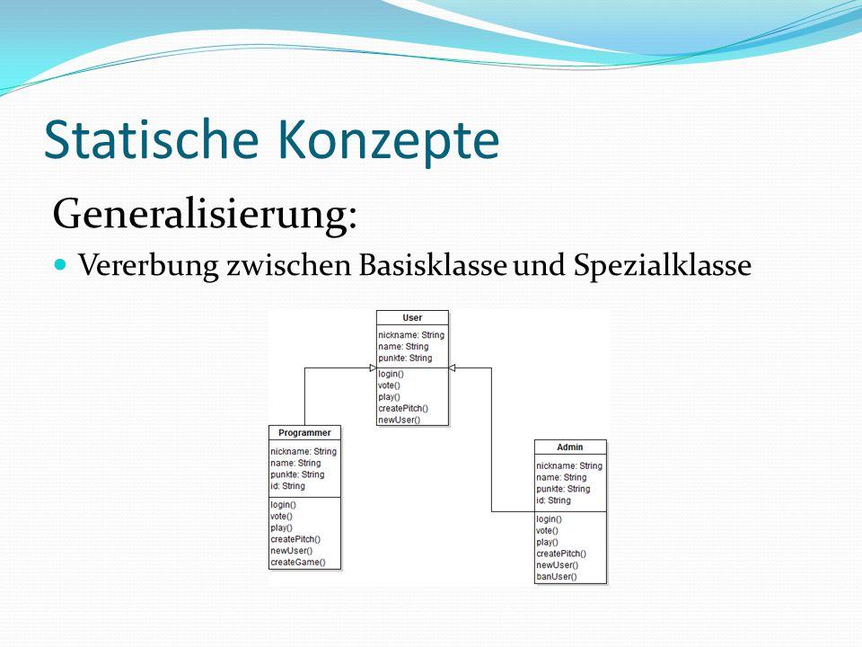 Statische Konzepte Generalisierung:
