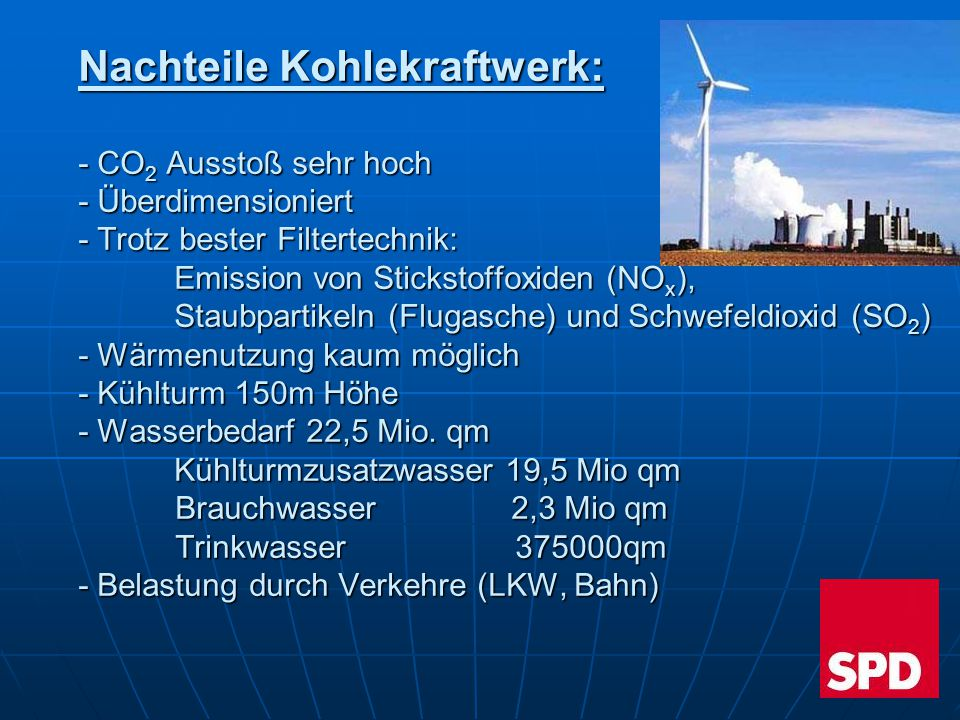 Nachteile Kohlekraftwerk: