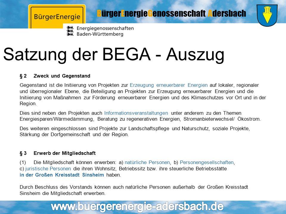 Satzung der BEGA - Auszug