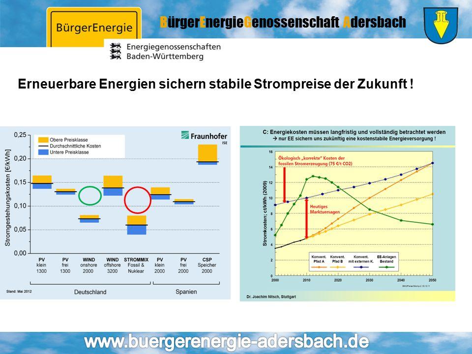 Erneuerbare Energien sichern stabile Strompreise der Zukunft !