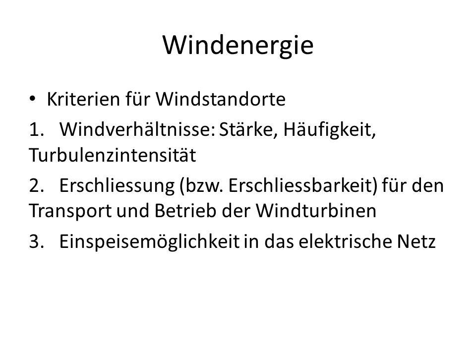 Windenergie Kriterien für Windstandorte