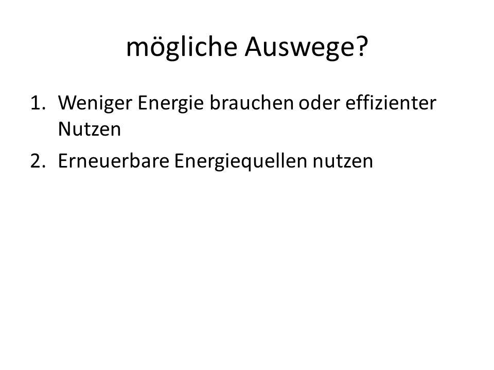 mögliche Auswege Weniger Energie brauchen oder effizienter Nutzen