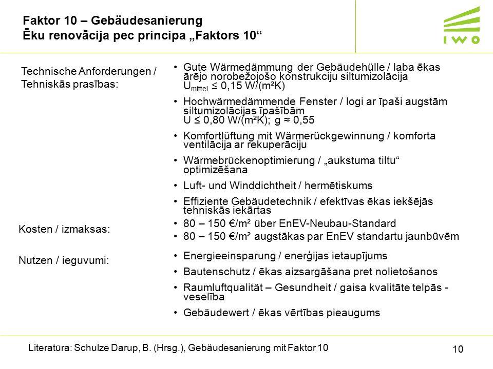 """Faktor 10 – Gebäudesanierung Ēku renovācija pec principa """"Faktors 10"""