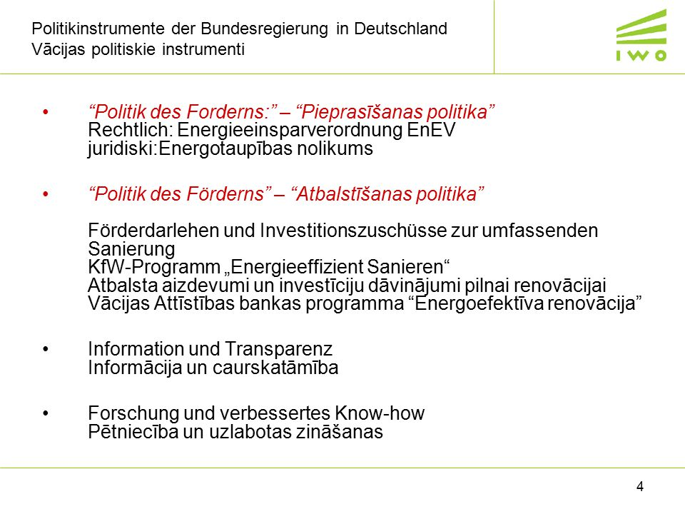 Information und Transparenz Informācija un caurskatāmība
