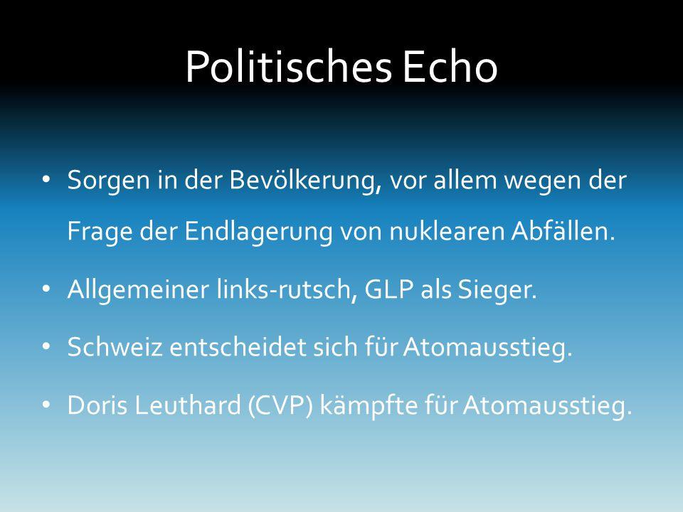 Politisches Echo Sorgen in der Bevölkerung, vor allem wegen der Frage der Endlagerung von nuklearen Abfällen.