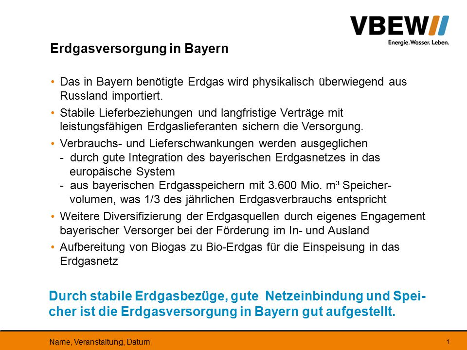 Erdgasversorgung in Bayern