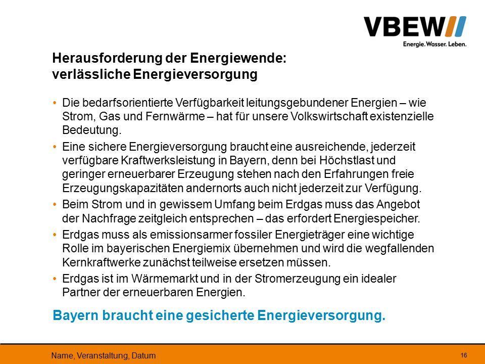 Herausforderung der Energiewende: verlässliche Energieversorgung