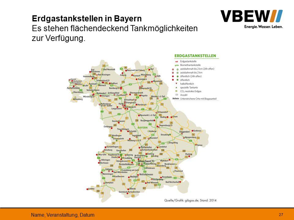 Erdgastankstellen in Bayern Es stehen flächendeckend Tankmöglichkeiten zur Verfügung.