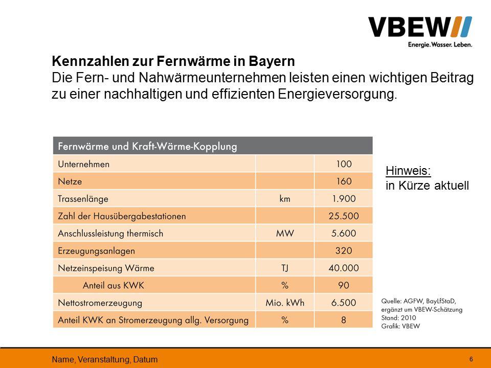 Kennzahlen zur Fernwärme in Bayern Die Fern- und Nahwärmeunternehmen leisten einen wichtigen Beitrag zu einer nachhaltigen und effizienten Energieversorgung.