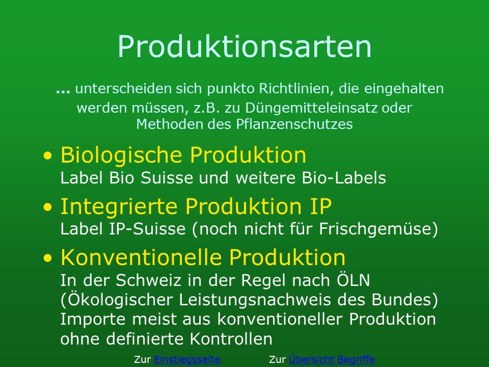 Produktionsarten ... unterscheiden sich punkto Richtlinien, die eingehalten werden müssen, z.B. zu Düngemitteleinsatz oder Methoden des Pflanzenschutzes