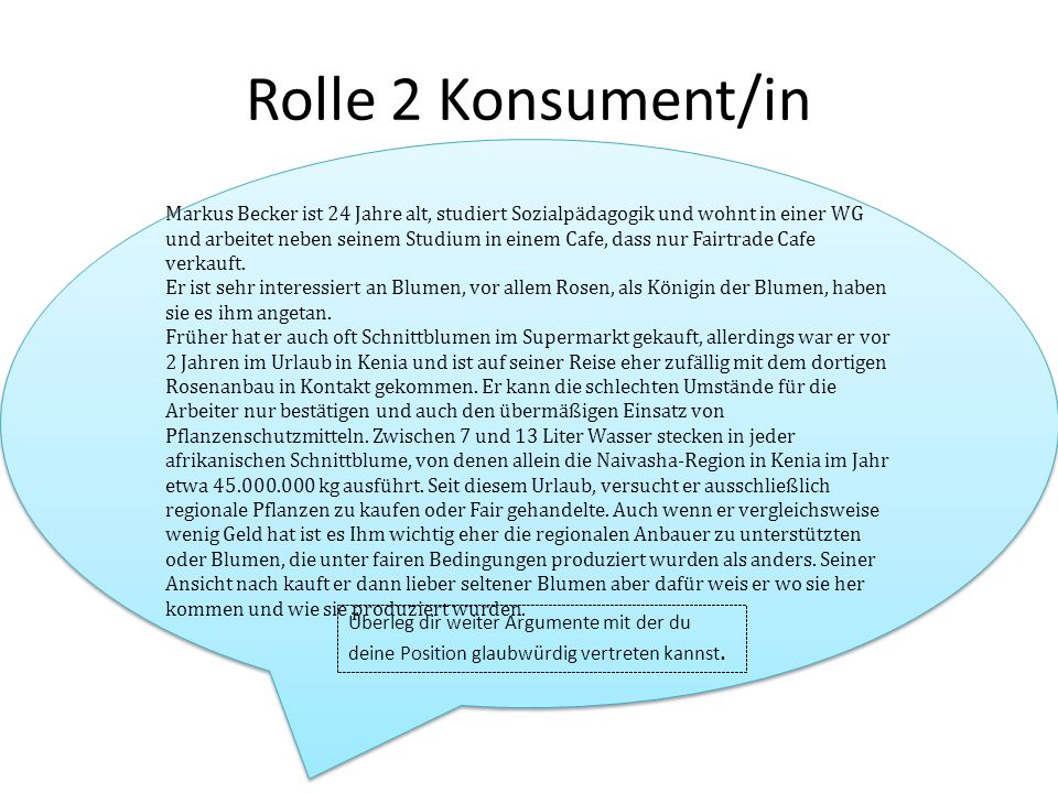 Rolle 2 Konsument/in