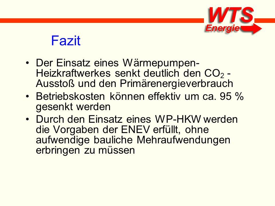 Fazit Der Einsatz eines Wärmepumpen-Heizkraftwerkes senkt deutlich den CO2 - Ausstoß und den Primärenergieverbrauch.