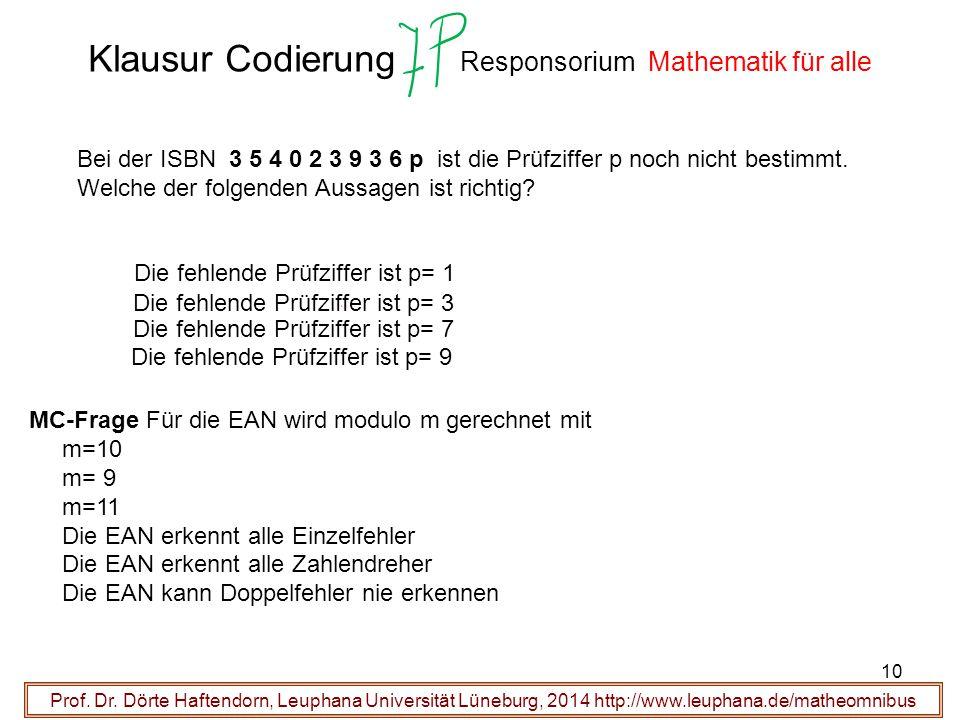 Klausur Codierung Responsorium Mathematik für alle