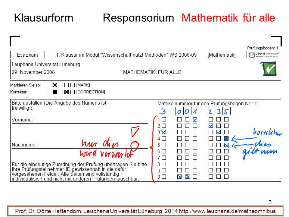 Klausurform Responsorium Mathematik für alle