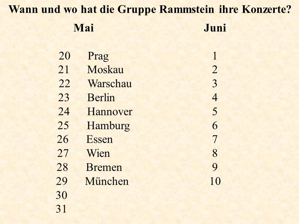 Wann und wo hat die Gruppe Rammstein ihre Konzerte