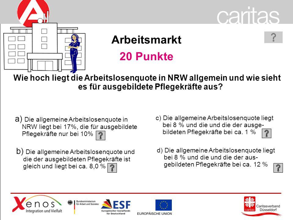 Arbeitsmarkt 20 Punkte. Wie hoch liegt die Arbeitslosenquote in NRW allgemein und wie sieht es für ausgebildete Pflegekräfte aus