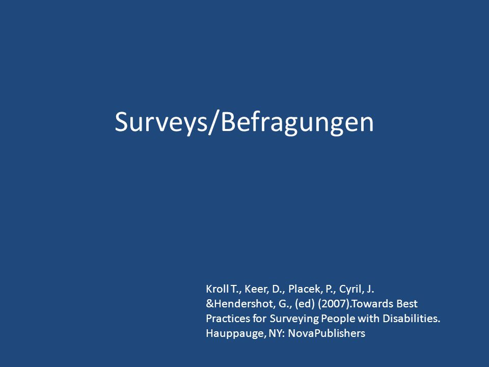 Surveys/Befragungen