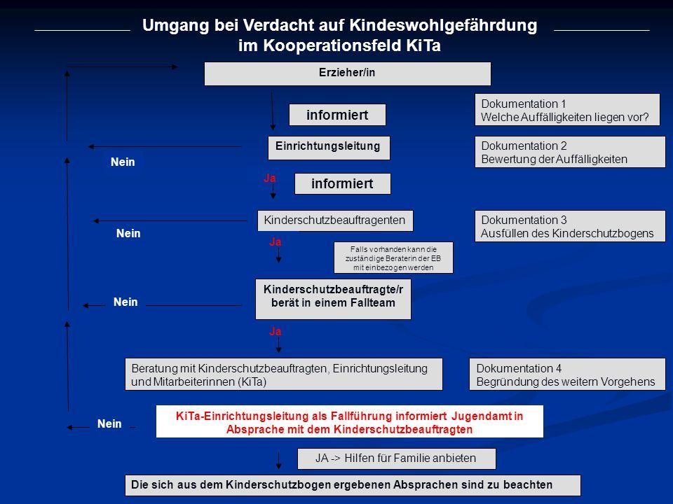 Umgang bei Verdacht auf Kindeswohlgefährdung im Kooperationsfeld KiTa