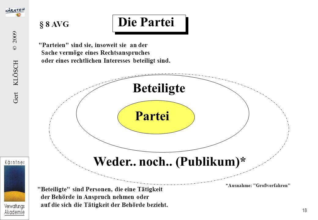 Rechte im AVG der Partei der Beteiligten des Publikums