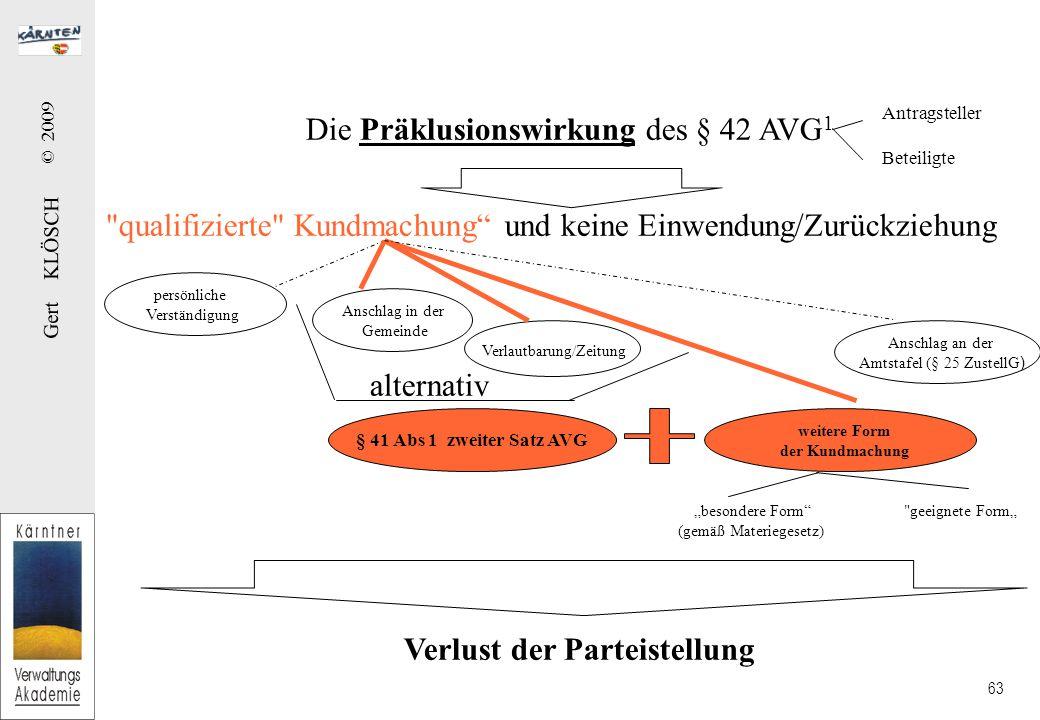 Die Präklusionswirkung des § 42 AVG2