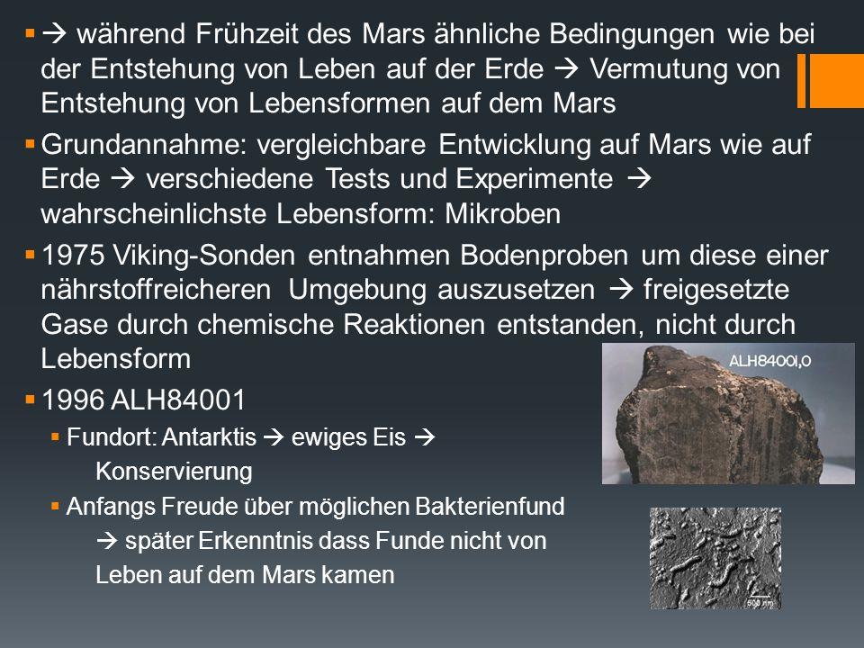  während Frühzeit des Mars ähnliche Bedingungen wie bei der Entstehung von Leben auf der Erde  Vermutung von Entstehung von Lebensformen auf dem Mars
