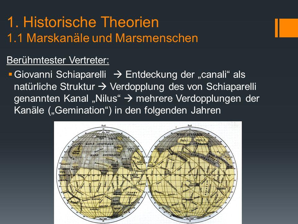 1. Historische Theorien 1.1 Marskanäle und Marsmenschen