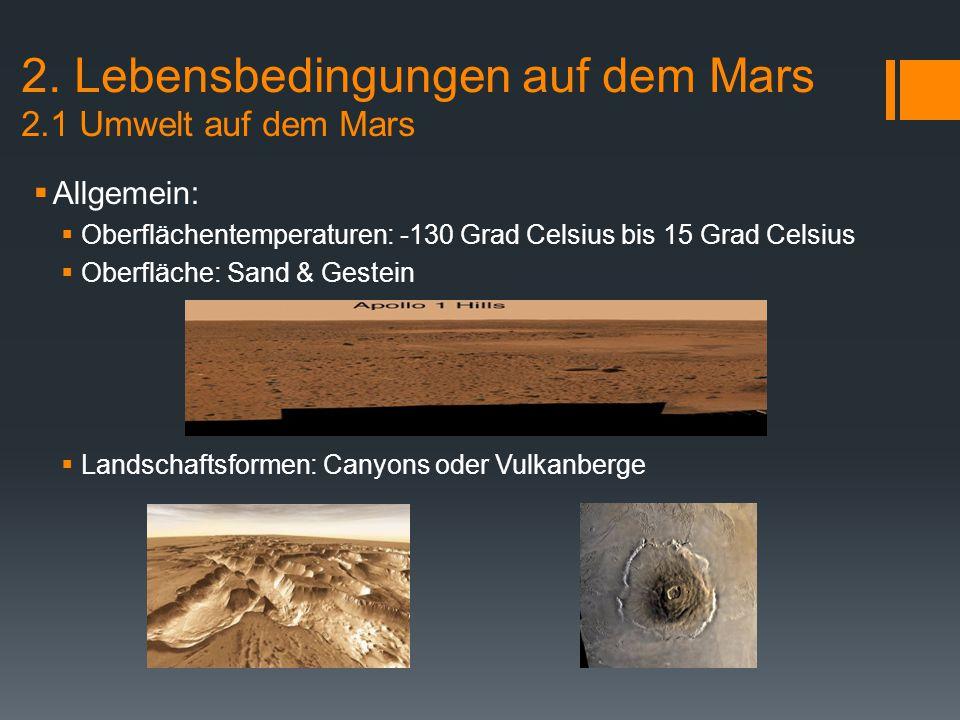 2. Lebensbedingungen auf dem Mars 2.1 Umwelt auf dem Mars