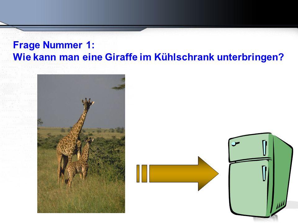Frage Nummer 1: Wie kann man eine Giraffe im Kühlschrank unterbringen