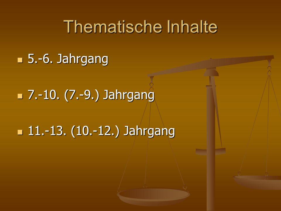 Thematische Inhalte 5.-6. Jahrgang 7.-10. (7.-9.) Jahrgang