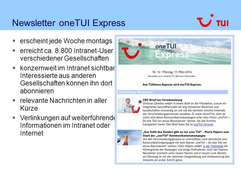 Newsletter oneTUI Express