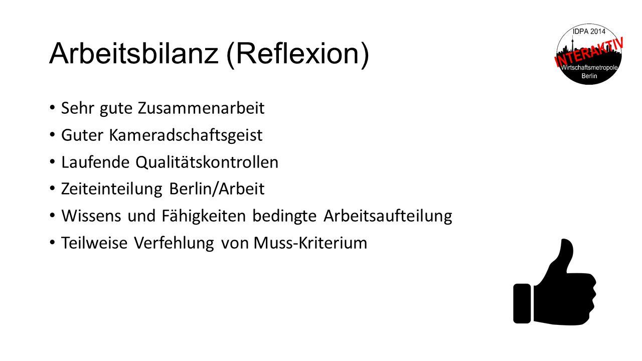 Arbeitsbilanz (Reflexion)