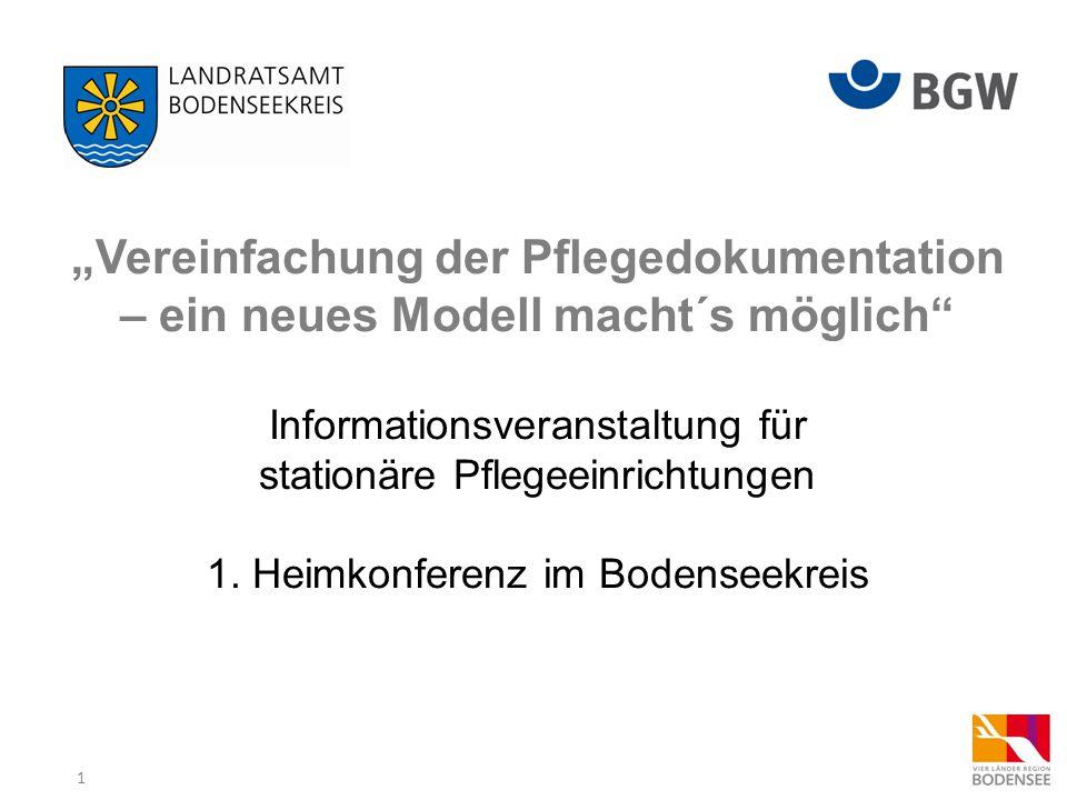 """""""Vereinfachung der Pflegedokumentation – ein neues Modell macht´s möglich Informationsveranstaltung für stationäre Pflegeeinrichtungen 1."""