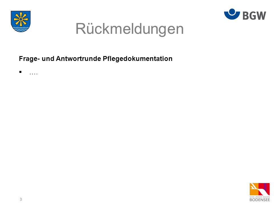 Rückmeldungen Frage- und Antwortrunde Pflegedokumentation ….