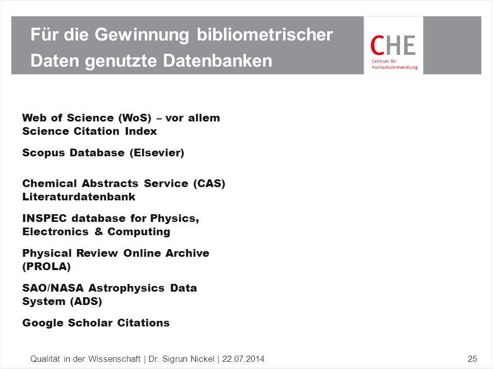 Für die Gewinnung bibliometrischer Daten genutzte Datenbanken