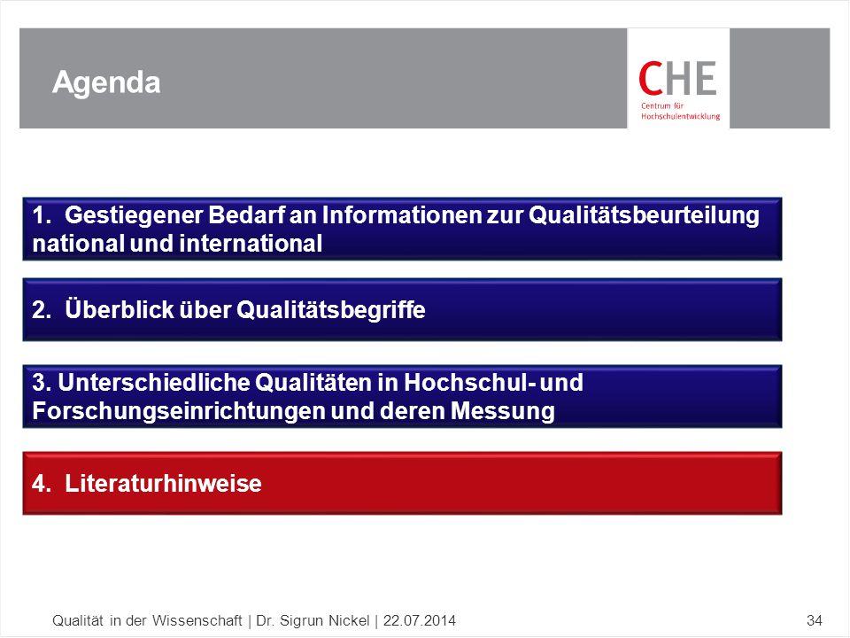 Agenda 1. Gestiegener Bedarf an Informationen zur Qualitätsbeurteilung national und international.