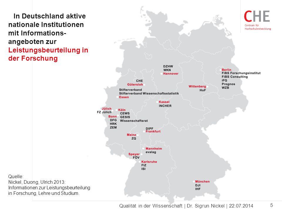 In Deutschland aktive nationale Institutionen mit Informations-angeboten zur Leistungsbeurteilung in der Forschung