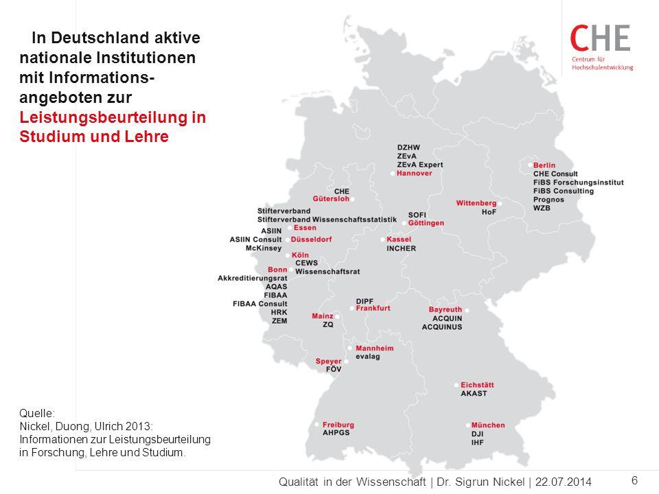 In Deutschland aktive nationale Institutionen mit Informations-angeboten zur Leistungsbeurteilung in Studium und Lehre
