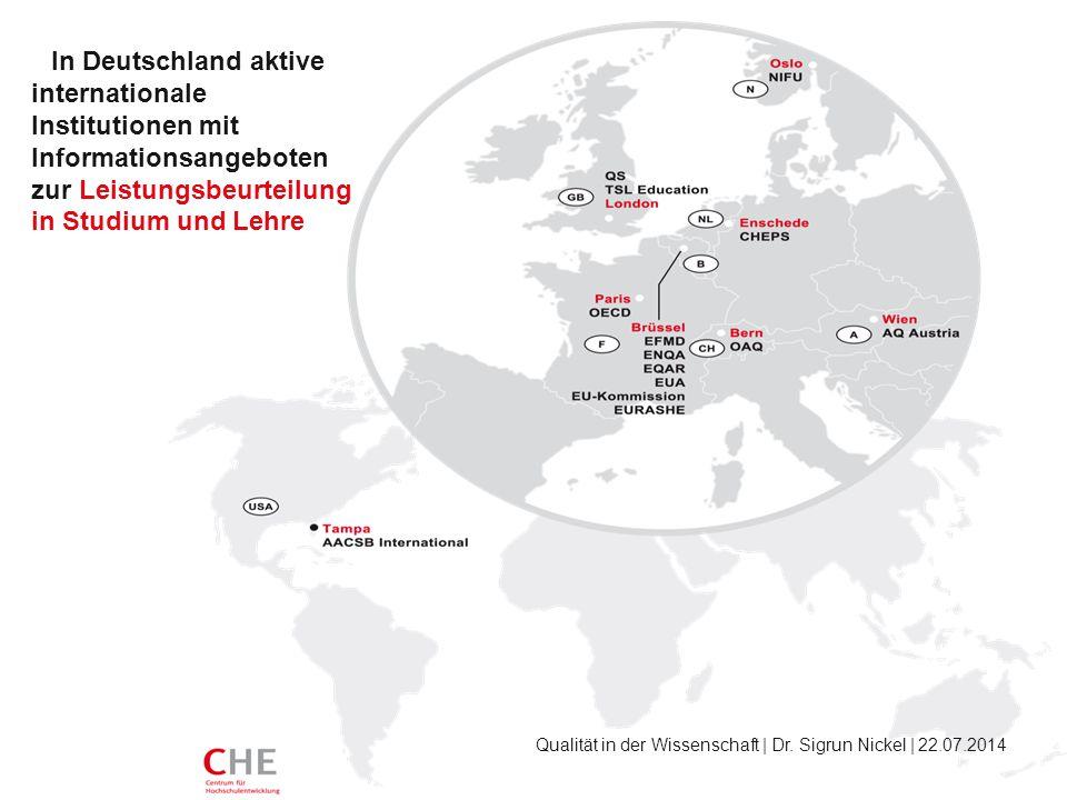 In Deutschland aktive internationale Institutionen mit Informationsangeboten zur Leistungsbeurteilung in Studium und Lehre