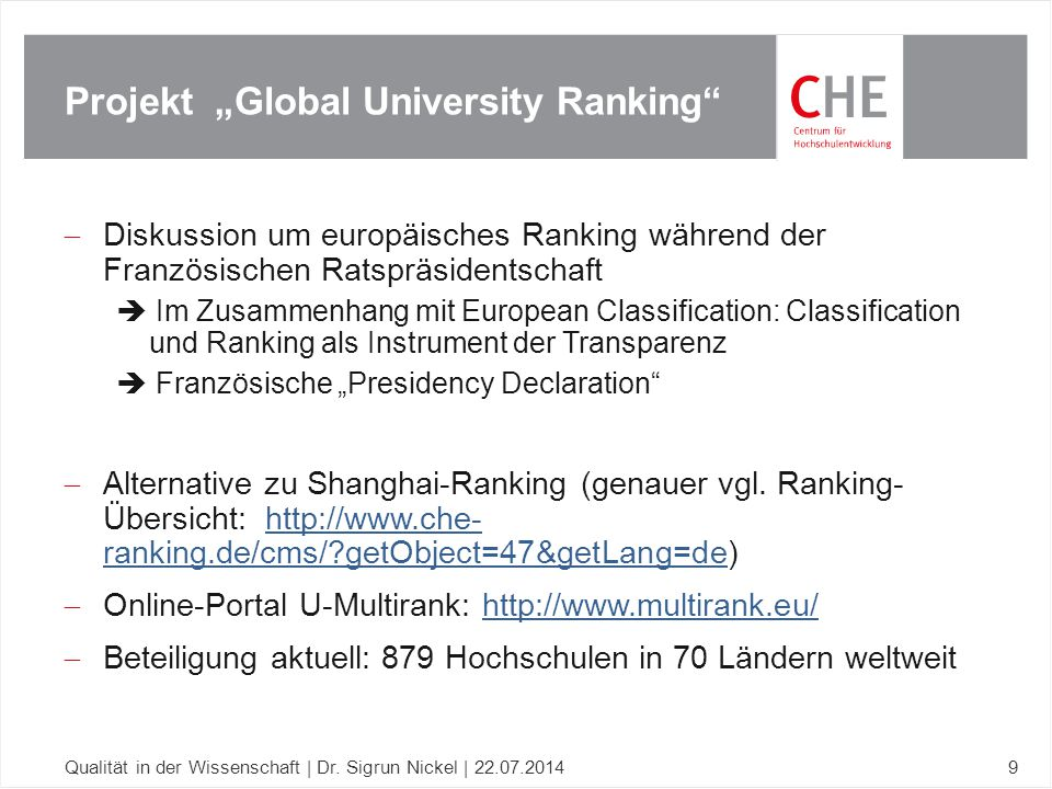 "Projekt ""Global University Ranking"