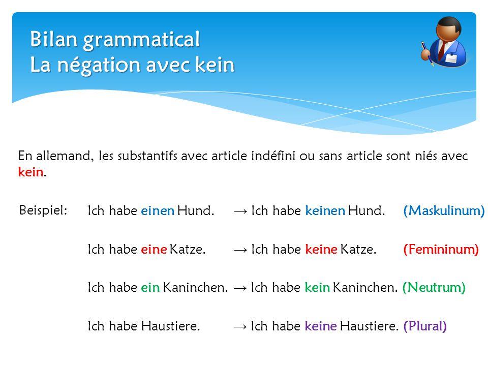 Bilan grammatical La négation avec kein