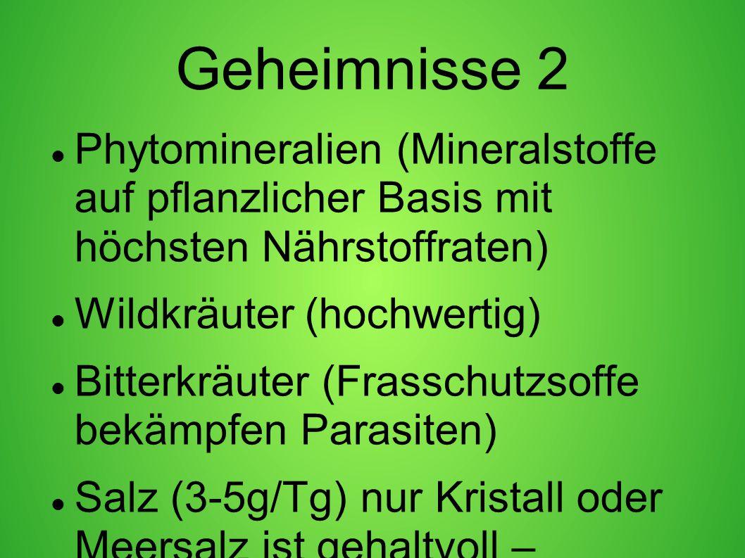 Geheimnisse 2 Phytomineralien (Mineralstoffe auf pflanzlicher Basis mit höchsten Nährstoffraten) Wildkräuter (hochwertig)