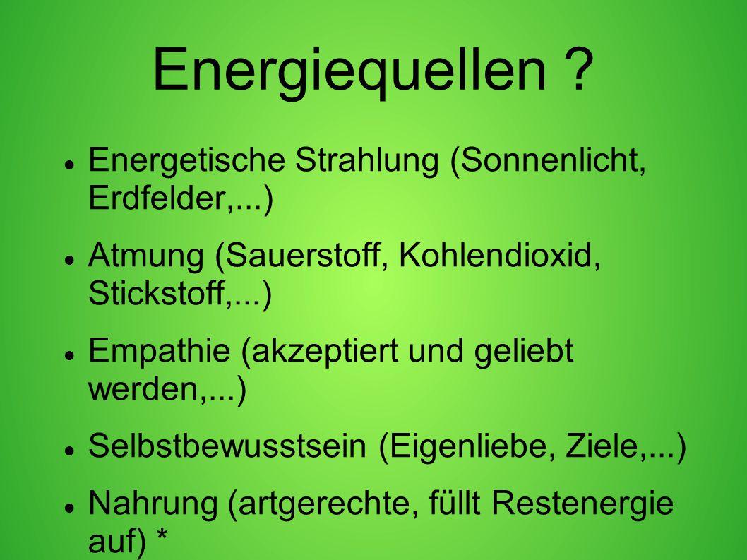 Energiequellen Energetische Strahlung (Sonnenlicht, Erdfelder,...)