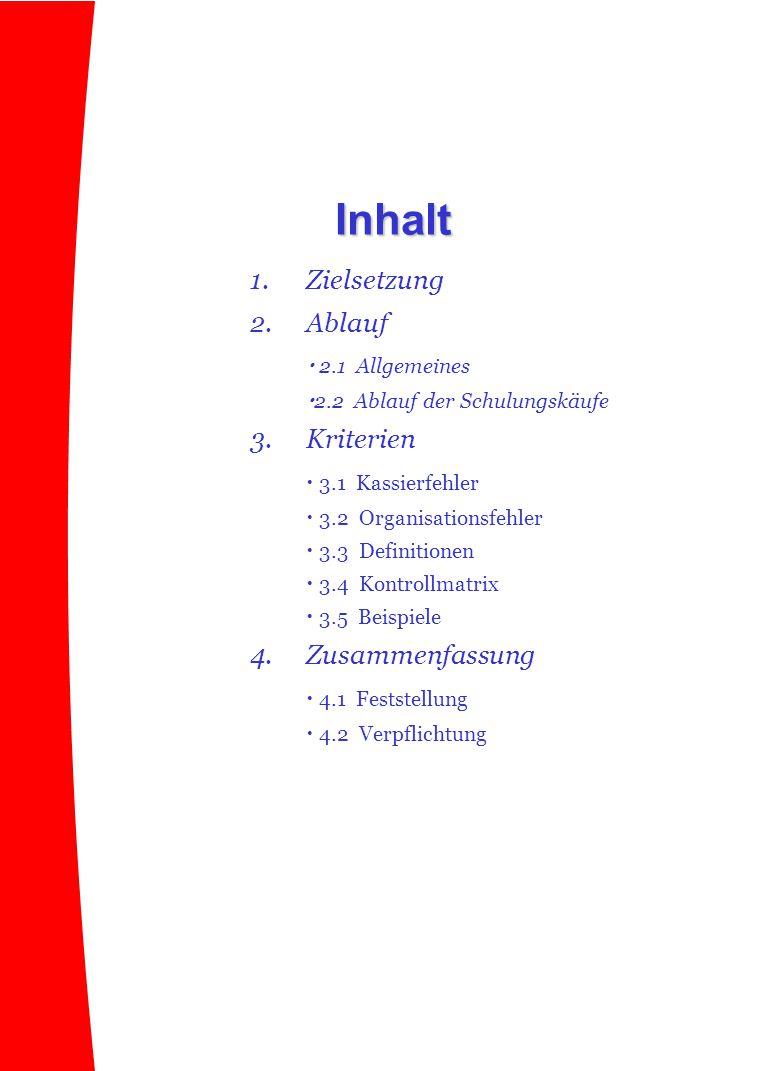 Inhalt 1. Zielsetzung 2. Ablauf  2.1 Allgemeines 3. Kriterien