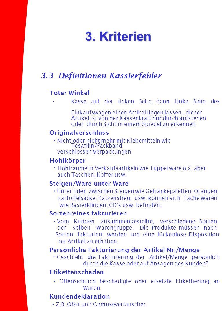 3. Kriterien 3.3 Definitionen Kassierfehler Toter Winkel