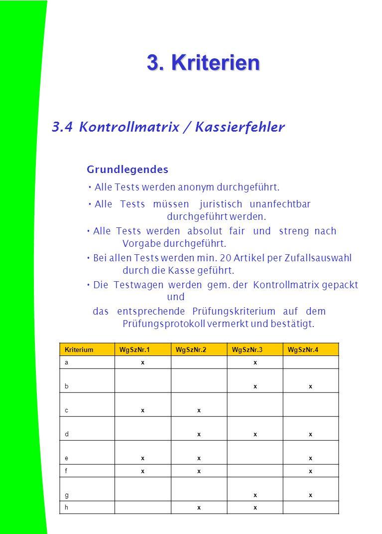 3. Kriterien 3.4 Kontrollmatrix / Kassierfehler Grundlegendes