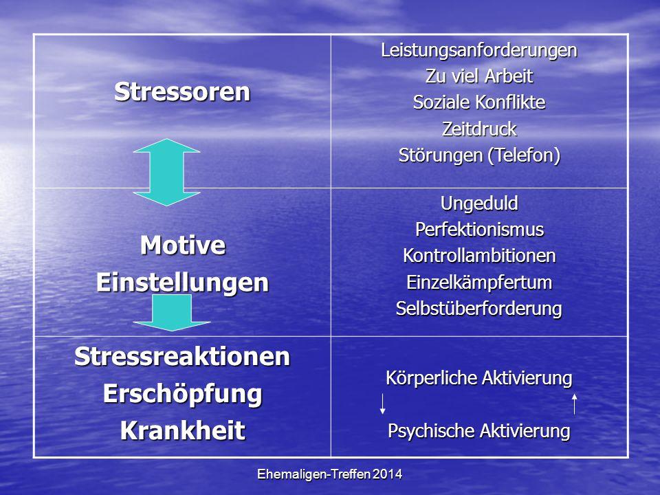 Stressoren Motive Einstellungen Stressreaktionen Erschöpfung Krankheit