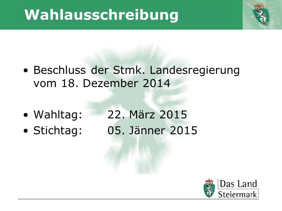 Wahlausschreibung Beschluss der Stmk. Landesregierung vom 18. Dezember 2014. Wahltag: 22. März 2015.