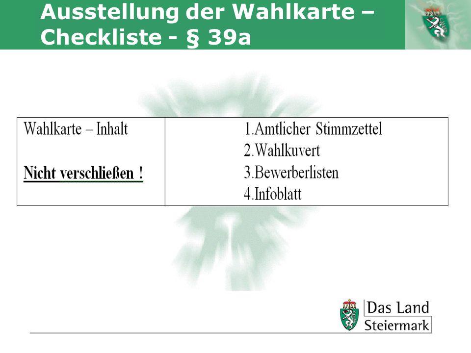 Ausstellung der Wahlkarte – Checkliste - § 39a